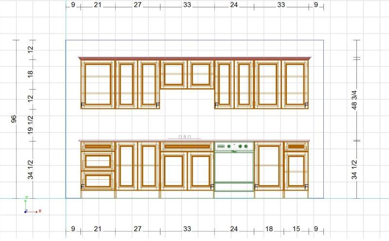 Parallel shape cutlist design for Kitchen cabinets elevation